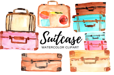 Watercolor travel suitcase clipart