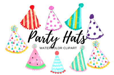 Watercolor birthday party hat clipart