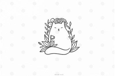 Cute cat with flowers svg cut file