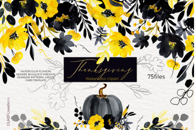 Thanksgiving. Black & Yellow Watercolor flowers