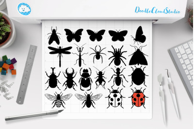 Insects Bundle SVG Cut Files,  Insect Clipart, Dragonfly, Ladybug.