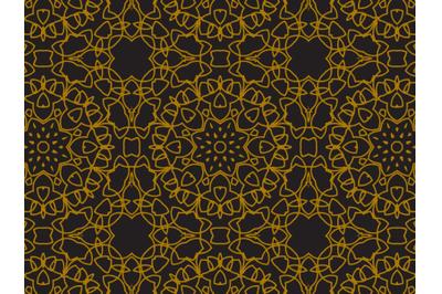 Pattern Gold Large Circular Flower Style