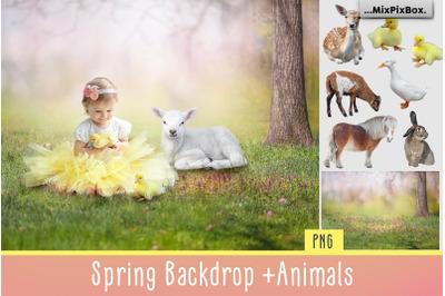 Spring Backdrop + Animals