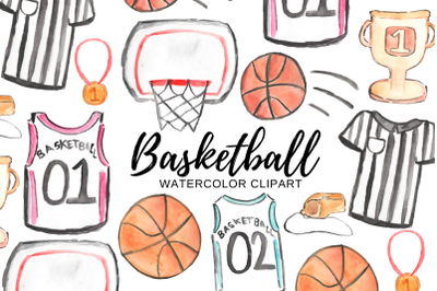 Watercolor Basketball clipart