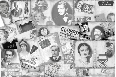 12 Black and White Movie Themed Collage Backgrounds