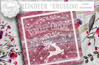 Vintage Reindeer Crossing SVG Cutting File