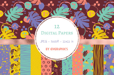 12 Abstract Digital Papers with flowers, palm leaves and doodle motifs