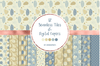 12 Doodle Nature Seamless tiles & Digital Papers