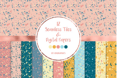 12 Terrazzo Seamless Tiles and Digital Papers