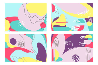 Fun hand drawn colorful shapes, doodle objects abstract bacground