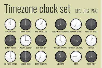 Timezone clock set