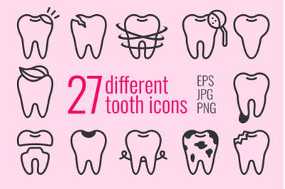 27 different tooth icons