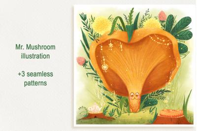 Mr. Mushroom. Forest illustration