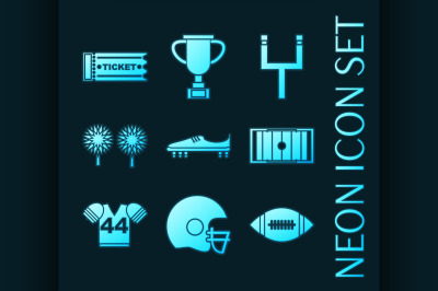 Set of American football glowing neon icons.