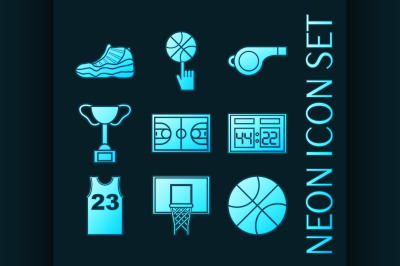 Set of Basketball blue glowing neon icons.