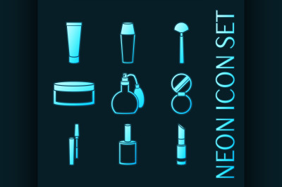 Set of Cosmetic glowing neon style icons