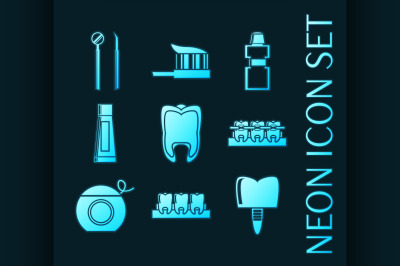 Set of Dental blue glowing neon icons.