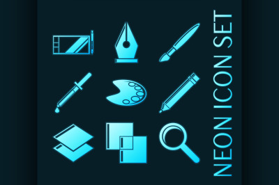 Set of Design Blue glowing neon icons
