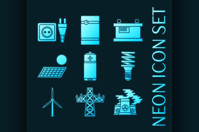 Set of Energy generating systems neon icons.