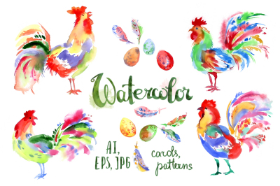 Watercolor roosters, vector