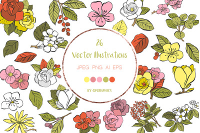 26 Hand Drawn Vector Spring Flowers