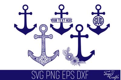 Mandala Anchor SVG, Anchor Monogram SVG, Floral Anchor Svg, Nautical