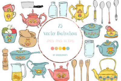 25 Hand Drawn Kitchen Utensils Vector Illustrations