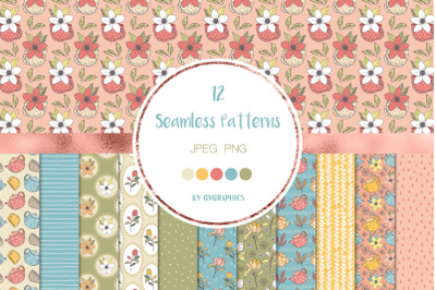 12 Teapots, Teacups and Flowers Seamless Patterns