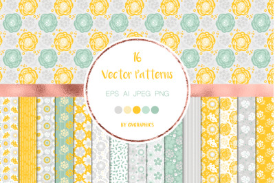 16 Gray, Yellow and Green Nature Vector Patterns