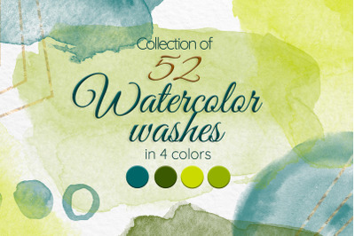 Green watercolor stains clipart Olive green Sage green Lime green Teal
