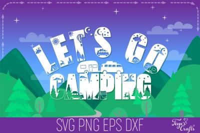 Camping SVG Alphabet, Camper SVG, Camping SVG Cricut, Happy Camper SVG