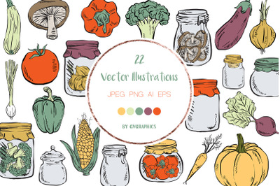 22 Hand Drawn Cartoon Vegetables Vector Illustrations