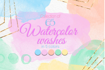 Colorful watercolor stains Purple Yellow Orange Mint green Blue washes