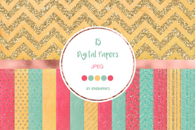 15 Colorful Glitter Digital Papers in pink, blue and orange