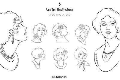 8 Hand Drawn Retro Women Vector Illustrations
