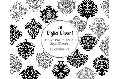 20 Hand Drawn Damask Elements Digital Clipart