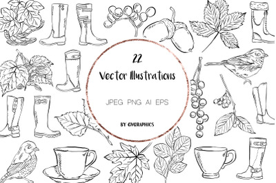 22 Hand Drawn Birds, Leaves, Boots and Tea cups Vector Illustrations
