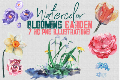 "Watercolor Set of Illustrations ""Blooming Garden"" - 7 PNGs"