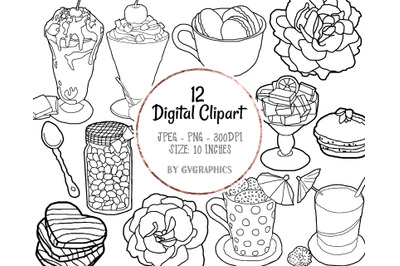 12 Hand Drawn Summer Sweets, Drink and Roses Digital Clipart