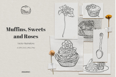 Muffins, Sweets and Roses Vector Illustrations