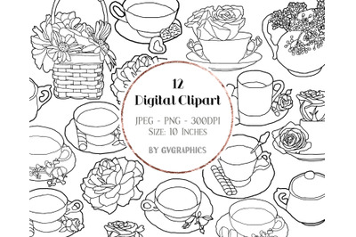 12 Hand Drawn Summer Spring Roses, Tea cups and Sweets Digital Clipart