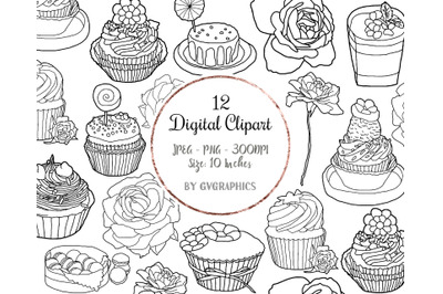 12 Hand Drawn Muffins, Sweets and Roses Digital Clipart