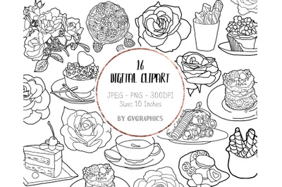16 Hand Drawn Sweets, Tea and Roses Digital Clipart