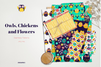 Owls, Chickens and Flowers Seamless Patterns