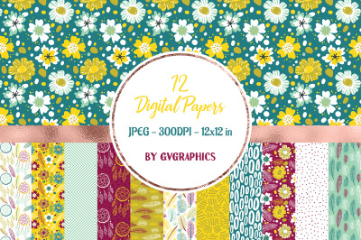 12 Vibrant Flowers, feather and dreamcatchers Digital Papers in yellow