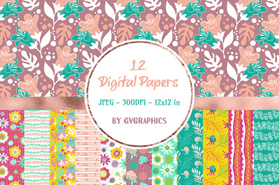 12 Hand drawn Flowers Digital Papers in yellow, pink and mint