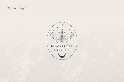 Pre-made Logo Template + Packaging. Moon Butterfly Brand Logo Design.