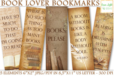 Printable Bookmarks, Book Lover Vintage Digital Bookmarks