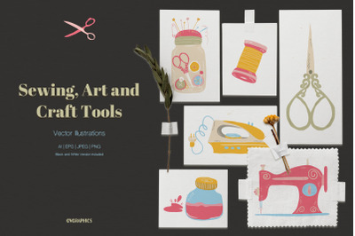 Sewing, Art and Craft Tools Vector Illustrations