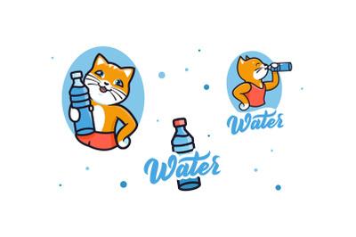 Cute kitty drink water, logo